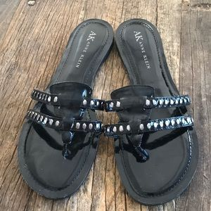 Anne Klein Charlotte Vegan Black Sandals Size 9.5